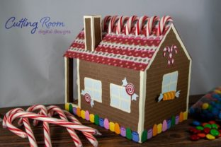Gingerbread House Candy Cane Holder Graphic 3D SVG By cuttingroomdesigns 6