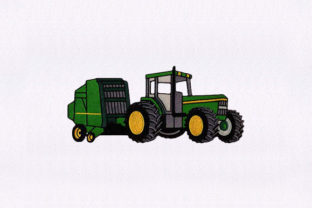 Green Farming Tractor Transportation Embroidery Design By StitchersCorp