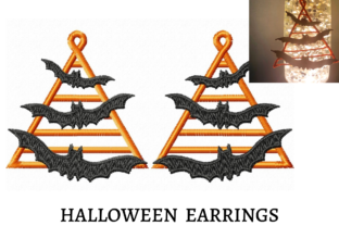 Halloween Earrings Halloween Embroidery Design By LaceArtDesigns