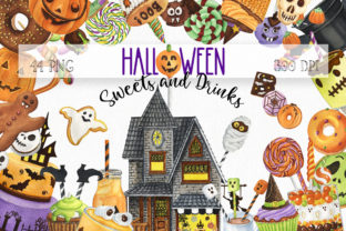 Halloween Sweets and Drinks Clipart Graphic Illustrations By KaleArtCreative