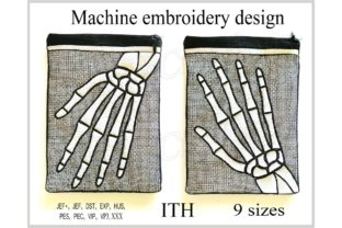In the Hoop Zippered Skeleton Arm Bag Halloween Embroidery Design By ImilovaCreations