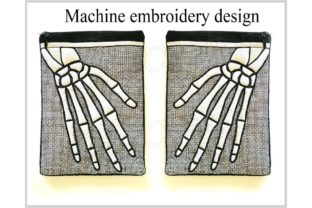 In the Hoop Zippered Skeleton Arm Bag Halloween Embroidery Design By ImilovaCreations 2