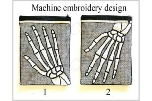 In the Hoop Zippered Skeleton Arm Bag Halloween Embroidery Design By ImilovaCreations 3