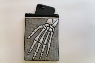 In the Hoop Zippered Skeleton Arm Bag Halloween Embroidery Design By ImilovaCreations 6