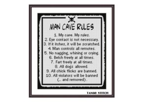Print on Demand: Man Cave Rules Funny Romantic Quote Graphic Cross Stitch Patterns By Tango Stitch