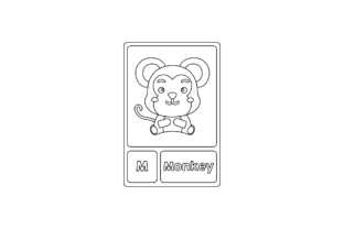 Monkey Animal Flashcard Coloring Pages Graphic Coloring Pages & Books By Graphic Idea 2