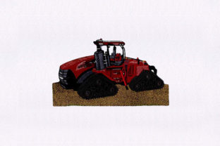 Red Harvester Tractor Transportation Embroidery Design By StitchersCorp