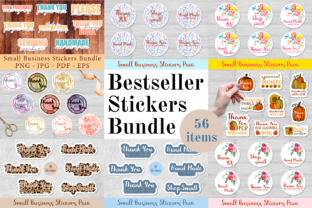 Print on Demand: Stickers Mega Bundle. 56 Items Stickers Graphic Print Templates By CuteShopClipArt