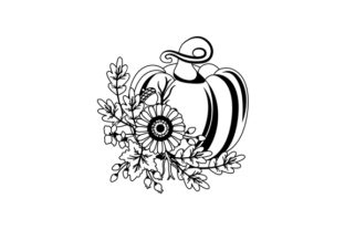 Pumpkin with Autumnal Flowers Thanksgiving Craft Cut File By Creative Fabrica Crafts 2
