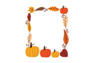 Pumpkin and Fall Leaves Border Designs & Drawings Craft Cut File By Creative Fabrica Crafts