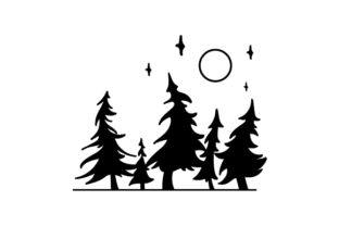 Forest Silhouette Nature & Outdoors Craft Cut File By Creative Fabrica Crafts