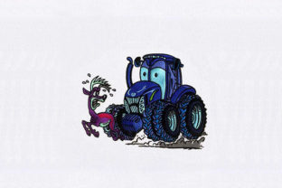 Blue Hunting Tractor Transportation Embroidery Design By StitchersCorp