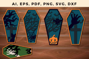 Print on Demand: COFFIN HALLOWEEN Layered Bundle Cut File Graphic 3D SVG By NGISED