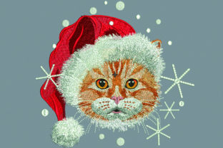 Print on Demand: Cat with Santa Hat Cats Embroidery Design By Samsul Huda 1