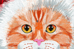 Print on Demand: Cat with Santa Hat Cats Embroidery Design By Samsul Huda 2