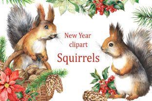 Christmas Clipart with Forest Squirrels. Graphic Add-ons By EvArtPrint