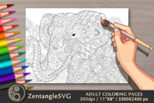 Elephant Adult Coloring Book Page Graphic Coloring Pages & Books Adults By ZentangleSVG