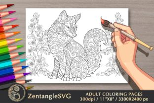 Floral Fox Adult Coloring Book Page Graphic Coloring Pages & Books Adults By ZentangleSVG