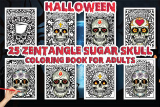 Print on Demand: Halloween Sugar Skull Zentangle Coloring Graphic Coloring Pages & Books Adults By Moonz Coloring