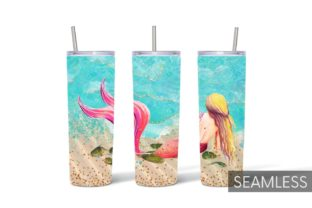 Mermaid Tumbler Sublimation Graphic Print Templates By SvgOcean 2