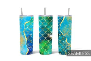 Mermaid Tumbler Sublimation Graphic Print Templates By SvgOcean 11