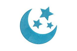 Moon with Stars Bed & Bath Embroidery Design By Alistudio