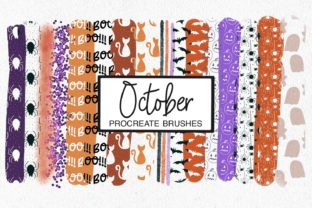 Print on Demand: October Procreate Pattern Brushes Graphic Brushes By illuztrate