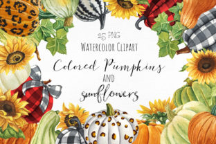 Pumpkins and Sunflowers Autumn Clipart Graphic Illustrations By KaleArtCreative 1