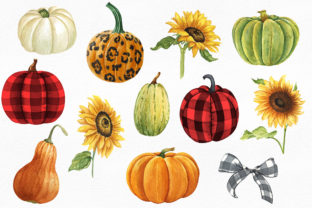 Pumpkins and Sunflowers Autumn Clipart Graphic Illustrations By KaleArtCreative 2