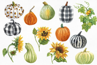 Pumpkins and Sunflowers Autumn Clipart Graphic Illustrations By KaleArtCreative 3