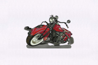 Red Heavy Motorcycle Transportation Embroidery Design By StitchersCorp