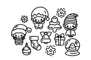 Kawaii-style Christmas Elves Coloring Page Christmas Craft Cut File By Creative Fabrica Crafts