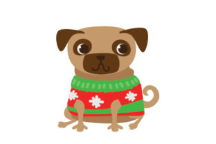 Dog in a Christmas Sweater Christmas Craft Cut File By Creative Fabrica Crafts
