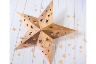 3D Paper Star with Star Cutouts Templates Graphic 3D SVG By AbbiKirsten