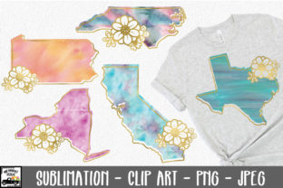 Print on Demand: 50 States Watercolor Sublimation Bundle Graphic Illustrations By oldmarketdesigns