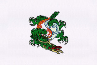 Breathing Green Dragon Fairy Tales Embroidery Design By StitchersCorp