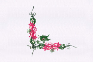 Butterfly Floral Vines Floral & Garden Embroidery Design By StitchersCorp