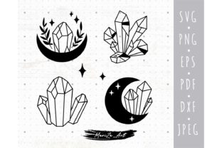 Celestial Crystal and Magic Moon SVG Graphic Illustrations By MySpaceGarden