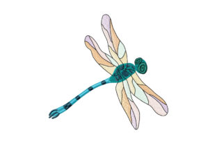 Print on Demand: Dragonfly with Rainbow Wings Bugs & Insects Embroidery Design By EmbArt