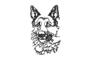 German Shepherd Face Dogs Embroidery Design By Embroiderypacks