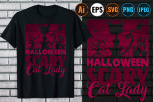 Print on Demand: HALLOWEEN SCARY CAT LADY T-SHIRT Graphic Print Templates By Design Store