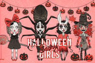 Halloween Scary Girls Characters Set Graphic Illustrations By Dapper Dudell