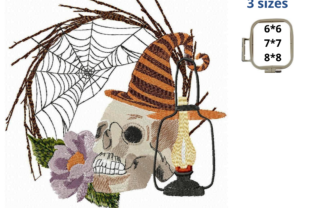 Halloween Skull Halloween Embroidery Design By LaceArtDesigns 1
