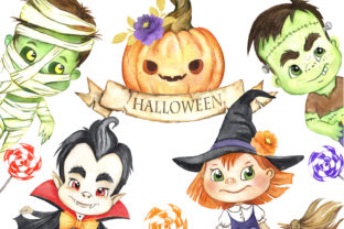 Halloween Clipart.Zombie, Witch, Vampire Graphic Add-ons By EvArtPrint