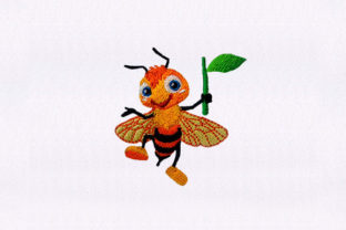 Happy Honey Bee Insect Bugs & Insects Embroidery Design By StitchersCorp