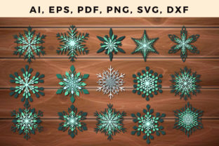 Print on Demand: LAYER 3D Christmas Snowflake BUNDLE SVG Graphic 3D SVG By NGISED