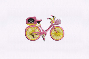 Pink Trunk Bicycle Sports Embroidery Design By StitchersCorp