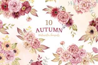 Watercolor Autumn Bouquets, Boho Fall Graphic Illustrations By SipkaDesigns