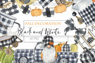 Watercolor Black and White Decor Clipart Graphic Illustrations By KaleArtCreative
