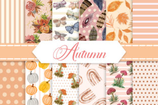 Print on Demand: Autumn Seamless Pattern Digital Papers Graphic Patterns By PinkPearly